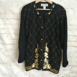 Victoria Harbour Sequin Christmas Cardigan Sweater